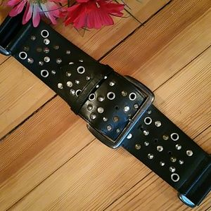 NWOT - Buckle Faux Black Leather Studded Belt